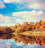 Autumn Landscape. Yellow Trees, Blue Sky and Lake. Nature Scenery in Fall. Beautiful Season Background with Reflection in Water. Toned Photo with Copy Space Stock Photos