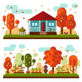 Autumn landscapes. Vector flat illustration of autumn landscapes. Blue house with red roof and terrace, flowers. Garden with apple, pear trees, beds of carrots Stock Image