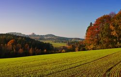 Autumn lanscape of czech moravian highland in the Czech republic Royalty Free Stock Photo