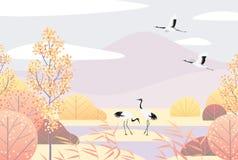 Autumn Lanscape simples com guindastes Vermelho-coroados Imagens de Stock