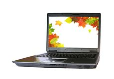 Autumn laptop Royalty Free Stock Image