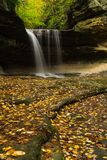 Autumn in LaSalle Canyon. Water cascading down LaSalle Canyon on a Autumn/ Fall morning.  Starved Rock State Park, Illinois, USA Stock Image