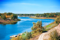 Autumn or late summer landscape of river Stock Photos