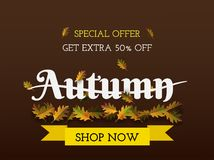 Autumn layout background decorate with yellow bird and leaves fo Royalty Free Stock Photography