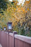 Autumn leaf. With japanese style lamp Stock Photos