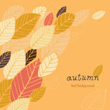 Autumn leaf background. Autumn orange background with hand-drawn leafs and text royalty free illustration