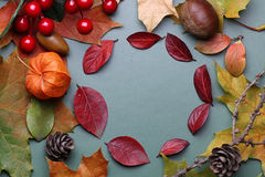 Autumn leaf background on a green isolated table Royalty Free Stock Photos