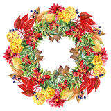 Autumn, leaf,  berry, watercolor garland Royalty Free Stock Images