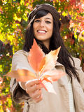 Autumn leaf and brunette woman Stock Photos