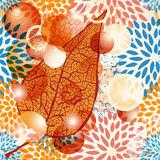 Autumn leaf with bubbles Royalty Free Stock Photography