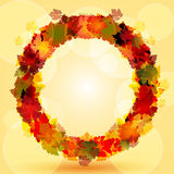 Autumn leaf circular border Stock Photos