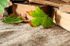 Autumn leaf close up of a vintage books on the table Royalty Free Stock Photography
