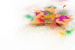 Autumn leaf with colorful eyeshadow Stock Photo