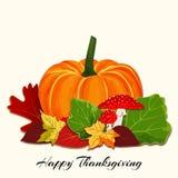 Autumn Leaf colorido con el fondo de la calabaza Fotos de archivo libres de regalías