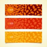 Autumn leaf fall banners. Autumn defoliation. Set of horizontal banners with button and realistic foliage. Flat design. Vector eps 10 Royalty Free Stock Images