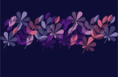 Autumn leaf fall geometry modern motif. In bright vivid color. vector illustration for surface design. violet night chic color header template with leaves Stock Image