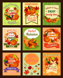 Autumn leaf and fall harvest retro poster set Royalty Free Stock Photography