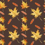 Autumn leaf fall of maple and rowan leaves seamless background