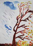 Autumn leaf fall. And rain - child art Stock Photography