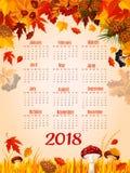Autumn leaf fall vector 2018 calendar template Stock Photos