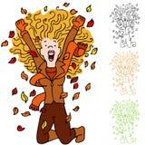 Autumn Leaf Girl Stock Photography