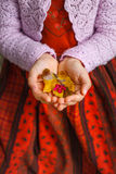 Autumn leaf in girl hands Stock Photography