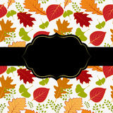 Autumn leaf greeting card. Abstract autumn leaf seamless pattern greeting card Stock Photography
