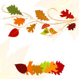 Autumn leaf greeting card. Abstract autumn leaf and lovebird greeting card Stock Photos