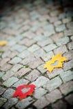 Autumn leaf hearts royalty free stock photos