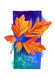 Autumn leaf. Hello, autumn evening. Autumn leaf against the background of the evening sky outside the window, a blue rectangle with addition of blue and violet royalty free illustration