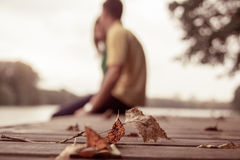 Autumn leaf. Lying in the park Royalty Free Stock Photo