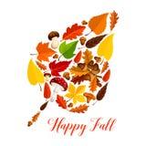 Autumn leaf with mushroom, fallen foliage, acorn. Autumn leaf silhouette made up of fall nature season symbols. Fallen leaves, acorn tree branch, forest mushroom Royalty Free Stock Photo