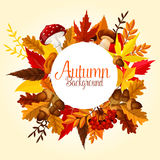 Autumn leaf, mushroom and forest berry poster Royalty Free Stock Image