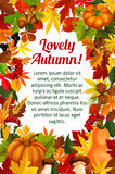 Autumn leaf poster template with fall nature frame Stock Images