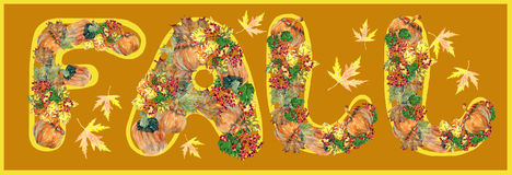 Autumn, leaf, pumpkin, berry, watercolor Royalty Free Stock Photos