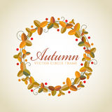 Autumn leaf and vine circle frame vector design Royalty Free Stock Photography