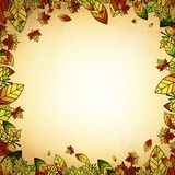 Autumn Leaf Vintage Border. Multicolored Autumn Leaf Border Vintage Background, Copyspace Royalty Free Stock Images