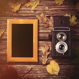 Autumn leafs, camera and frame on table. Stock Image