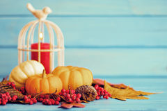 Autumn leafs and candle Stock Photography