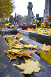 Autumn leafs on cemetery bench Stock Photos