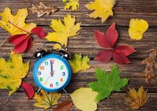 Autumn leafs and clock Stock Image