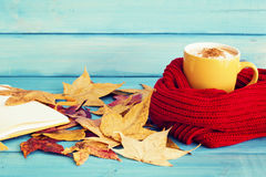 Autumn leafs and coffee cup Stock Photography