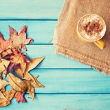 Autumn leafs and coffee Royalty Free Stock Photo