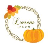 Autumn leafs. Colorful autumn leafs, pumpkin and roses, logo icon royalty free illustration