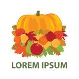 Autumn leafs. Colorful autumn leafs, pumpkin and roses, logo icon stock illustration