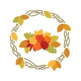 Autumn leafs. Colorful autumn leafs and roses, logo icon vector illustration