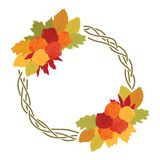 Autumn leafs. Colorful autumn leafs, and roses, logo icon royalty free illustration