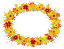 Autumn Leafs frame. Autumn leaves wreath with flowers vector illustration
