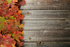 Autumn leafs frame on grey wooden background. Royalty Free Stock Images