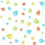 Autumn leafy seamless pattern. Vector illustration of a floral leafs fresh blue and green seamless pattern. Mildly autumn colored Stock Photography